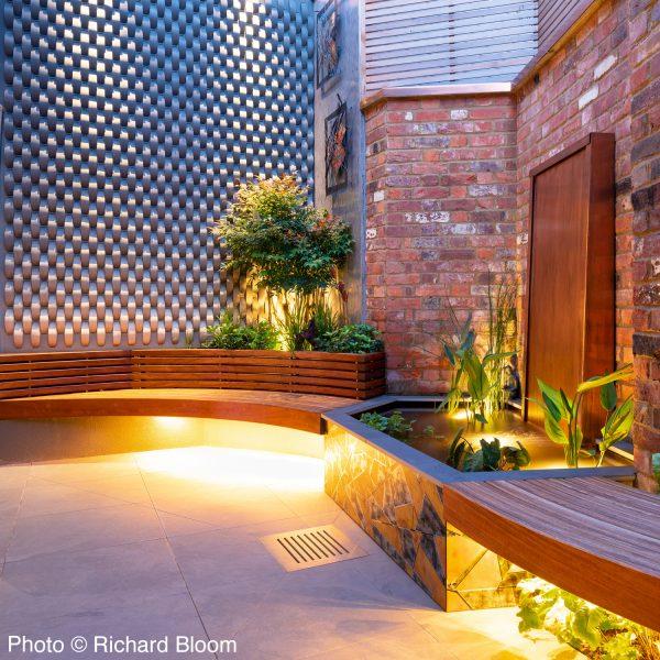 beautifully lit courtyard