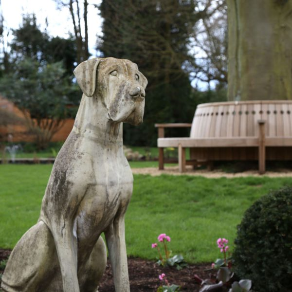 Large Garden in Harpenden - dog statue