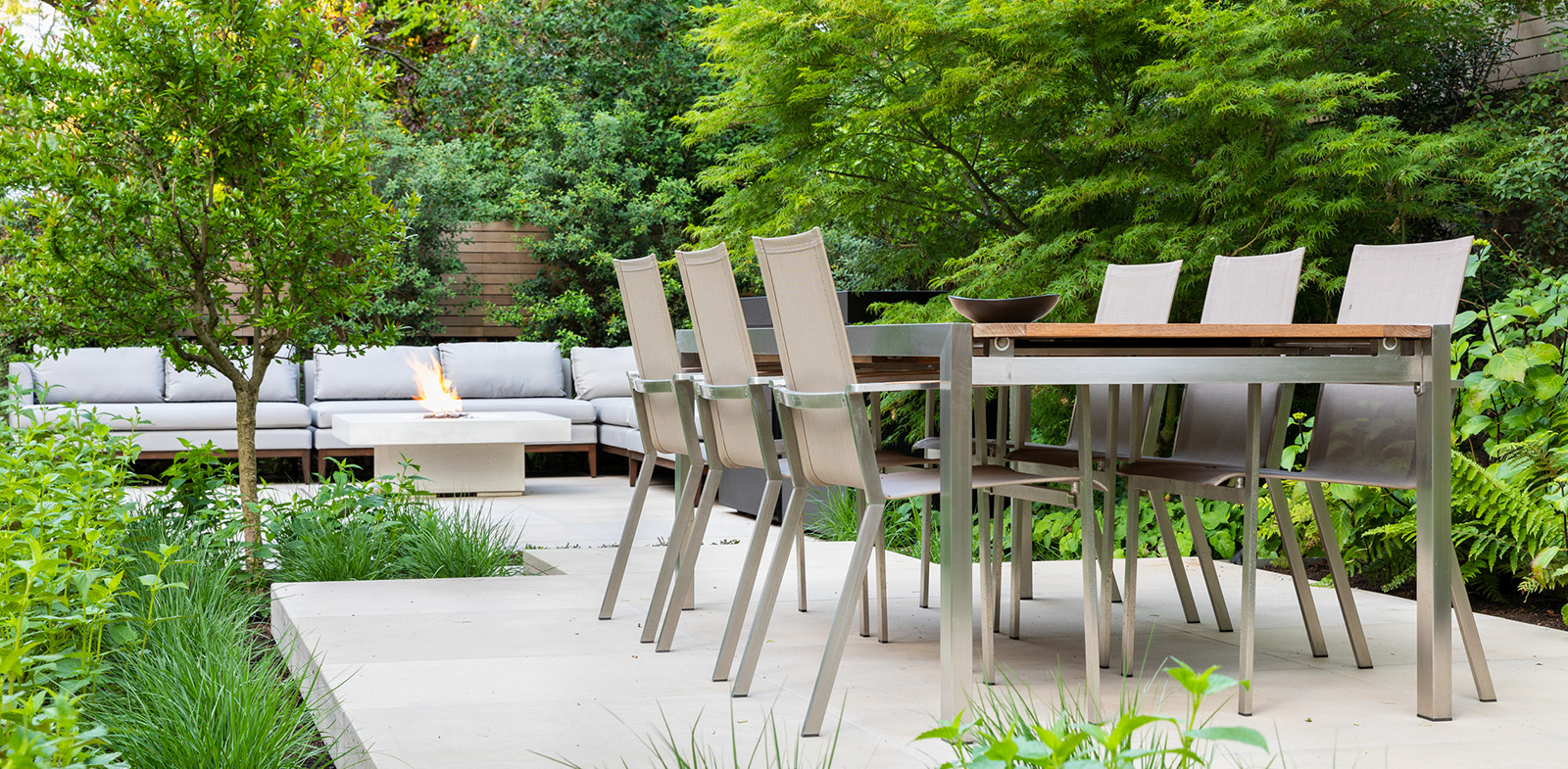 outdoor table in garden